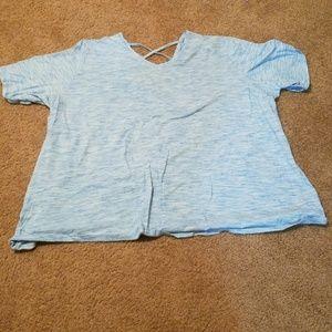 Soft blue shirt with criss cross detail